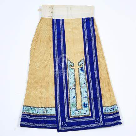 A Yellow and Blue Silk Embroidered Pleated Skirt, 19th Century