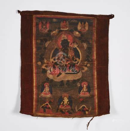 A Thangka of Green Tara, Tibet, 18th Century or Earlier