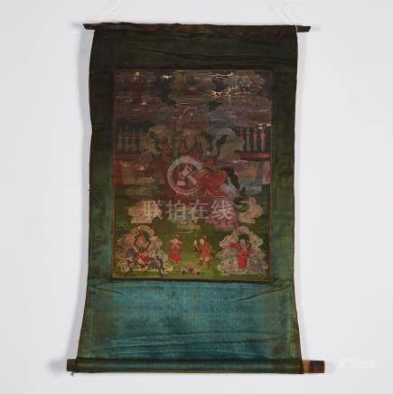 A Thangka of a Jambhala, Sino-Tibetan, 18th Century or Earlier