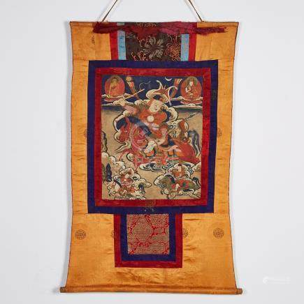 A Thangka of a Warrior Deity, Sino-Tibetan, 19th Century