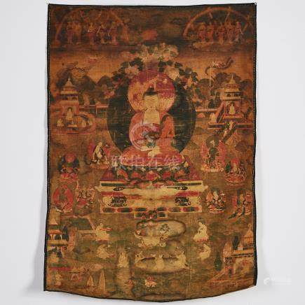 A Thangka of Shakyamuni, Sino-Tibetan, 17th Century