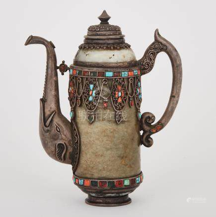 A Silver Mounted Hardstone Ewer, Sino-Tibetan, 18th Century