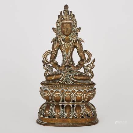 A Bronze Figure of Amitabha Buddha, Tibet, 19th Century or Earlier