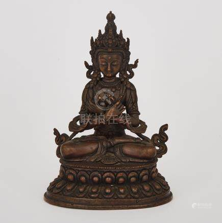 A Bronze Seated Buddha, Tibet, 19th Century or Earlier