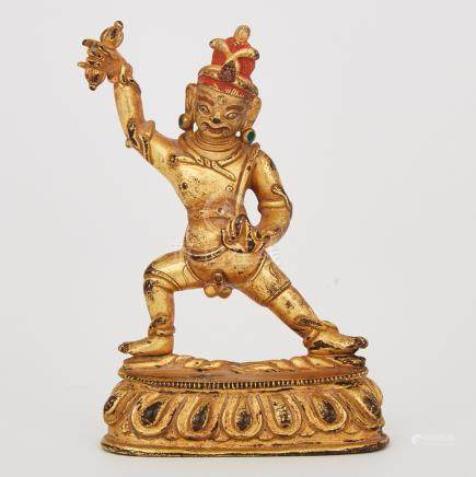 A Gilt Bronze Figure of Vajrapani, Tibet, 16th Century