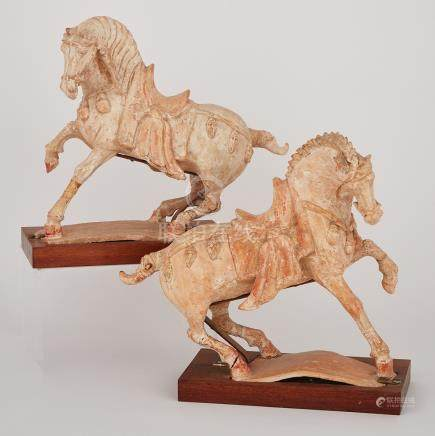 A Pair of Tang-Style Pottery Horses