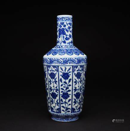 A Blue and White Bottle Vase, Daoguang Six-Character Mark and of the Period