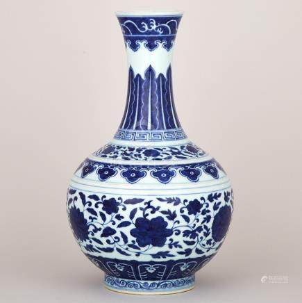 A Fine Blue and White Bottle Vase, Guangxu Six-Character Mark and of the Period 1875-1908