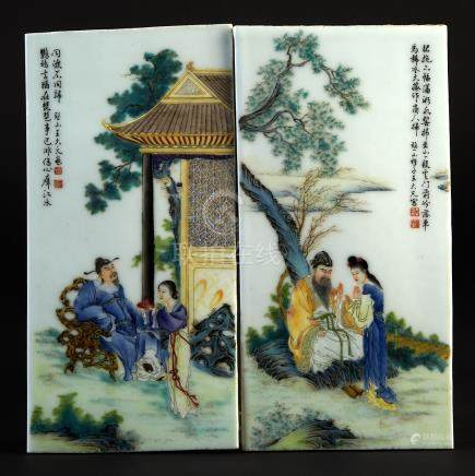 Attributed to Wang Dafan 王大凡 (1888-1961), Two Famille Rose Porcelain Plaques