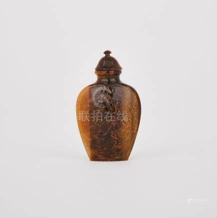 A Tiger's Eye Agate Carved Snuff Bottle, 19th Century