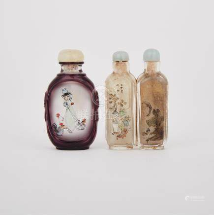 Two Interior Painted Glass Snuff Bottles, 19th/20th Century