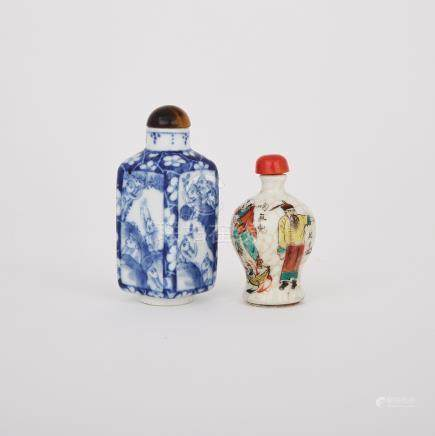 Two Porcelain Snuff Bottles, 19th/20th Century
