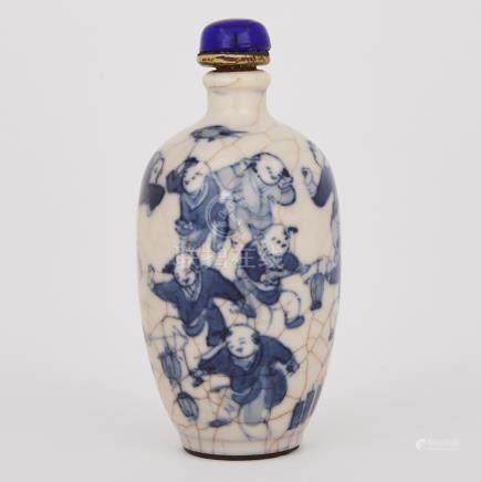A Blue and White Crackled Glaze Snuff Bottle, Kangxi Mark, 19th Century