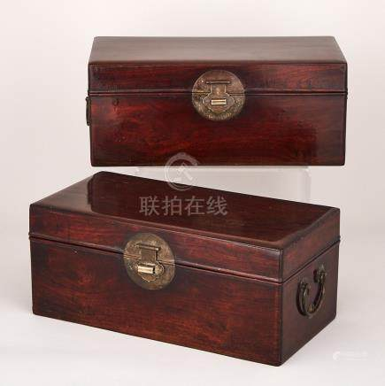 A Pair of Huanghuali Scholar's Boxes, 19th Century