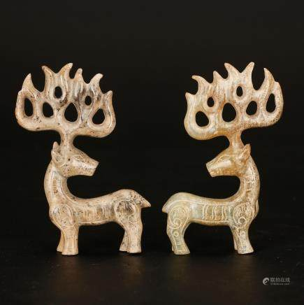 CHINESE ARCHAIC JADE CARVED PAIR OF DEER