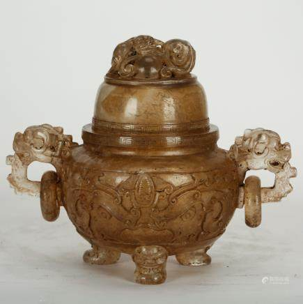 CHINESE CRYSTAL CARVED CENSER