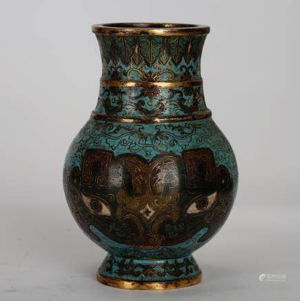 CHINESE CLOISONNE VASE WITH TAOTIE MASK
