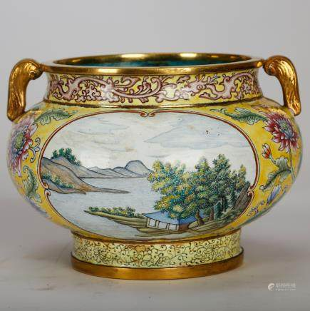 CHINESE BRONZE PAINTED ENAMEL LANDSCAPE JAR