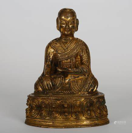 CHINESE GILT BRONZE SEATED LOHAN