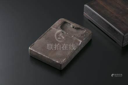 端溪双龙砚 红木盒(在铭)