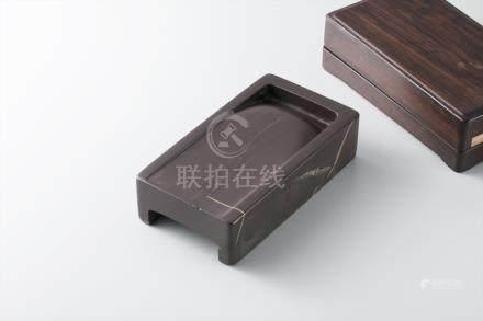 端溪方池砚 红木盒