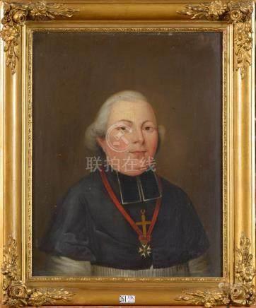 """Huile sur panneau de chêne """"Portrait d'un homme d'église"""". Anonyme.   Ecole française. Epoqu"""