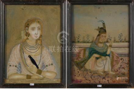 """""""Dame de cour"""" et """"Portrait d'une princesse moghole à l'oiseau"""" paire d'églomisés. Travail i"""