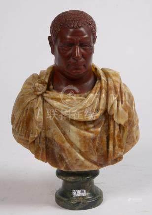 """""""Buste de l'empereur Vittellius"""" en Rosso Antico et marbre brun-beige. Travail italien. (Rep"""