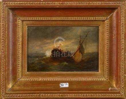 """Huile sur panneau """"Marine"""". Signé W.J.H. N. (?). Epoque: XIXème. Dim.:+/-14.5x22cm."""