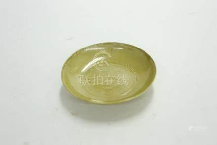 黃瓷仙鶴小盤