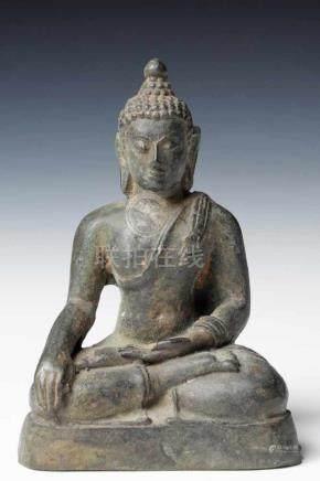 BUDDHA bronze, Thailand, 16th century H: 11 cm / W: 7 cm / D: 4cm