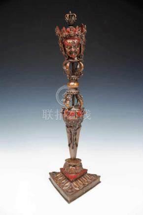 GHOST DAGGER (PHURBU) WITH STAND bronze, Tibet, 20th century, H: 55 cm / W: 16 cm / D: 16 cm The