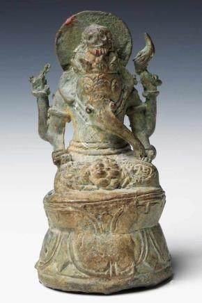 GANESHA bronze, Indonesia, 14th century, H: 11 cm / W: 6 cm / D: 5 cm
