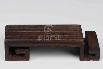 ZITAN INK TABLE wood carved China, 19th century, H: 3 cm / W: 10 cm / D: 4 cm