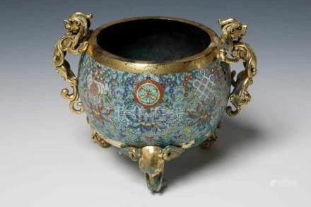 INCENSE BURNER cloisonné China, Miny Dynasty, H: 14 cm / W: 18 cm / D: 14 cm