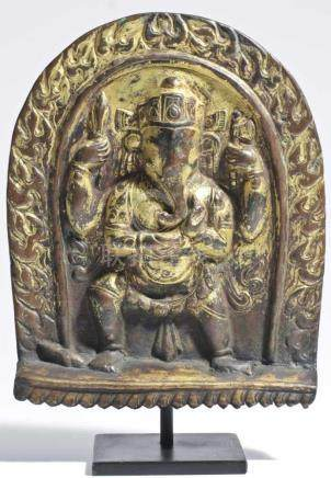 GANESHA copper repousse with rest gilding, Nepal, 18th century, H: 24 cm Rare form of a 4 armed