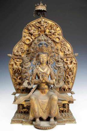 BUDDHA MAITREYA bronze gilt, Tibet / Nepal, 19th century, H: 60 cm / W: 38 cm / D: 24 cm Buddha