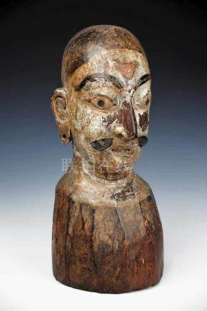 NEPALESE WARRIOR wood painted, Nepal, 18th century, H: 46 cm / W: 20 cm / D: 20 cm Bust of a
