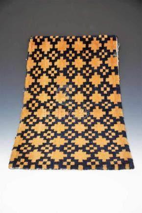 CARPET wool, Tibet, 19th century, H: 1 cm / B: 80 cm / D: 46 cm Nice dark yellow carpet with dark
