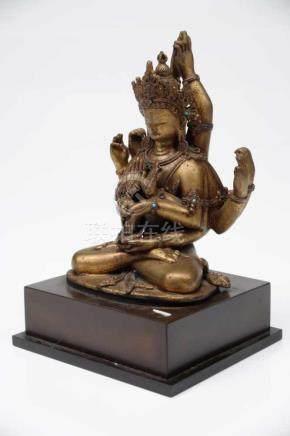 NAMASANGITI MANJUSHRI bronze, Nepal, 18th century H: 15,5 cm / W: 10,5 cm This masterfully