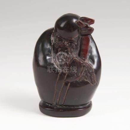 A Rhinoceros Horn Snuffbottle 'Shoulao'