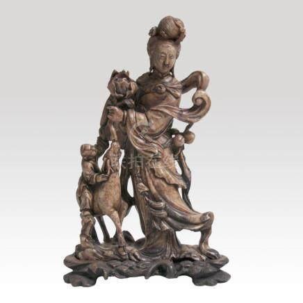A Soapstone Figure 'He Xiangu'