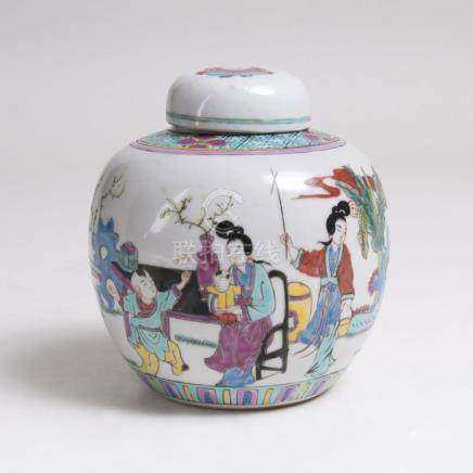 A Small Famille Rose lidded Jar with Figural Scene