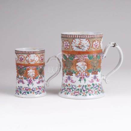 A Pair of Beakers with Oramental and Flower Painting