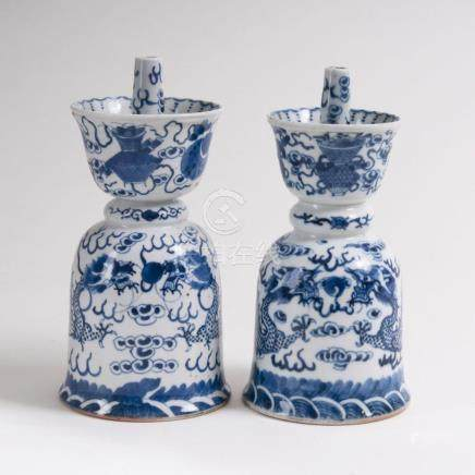 A Pair of Blue and White Incense Burners