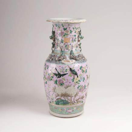 A Kanton Vase with Flowers and Birds