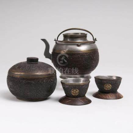 A Chinese Coconut and Pewter Tea Set