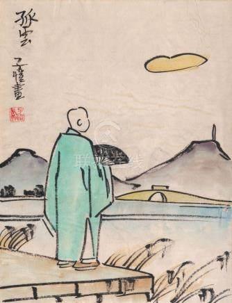 Zikai Feng Shimenwan 1898 - Shanghai 1975 Man by the Shore o