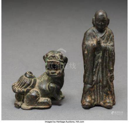 TWO SMALL CHINESE BRONZE STATUES 4-1/8 INCHES HIGH (10.5 CM)