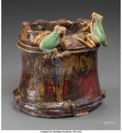 A CHINESE GLAZED EARTHENWARE BRUSHPOT WITH TWO APPLIED FROGS